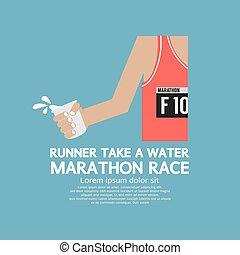 coureur, eau, marathon., prendre