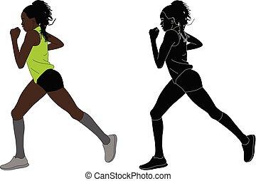 coureur, femme, marathon, illustration