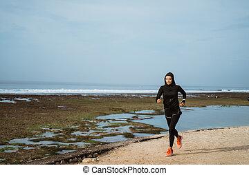 coureur, femme, sport plein air, musulman