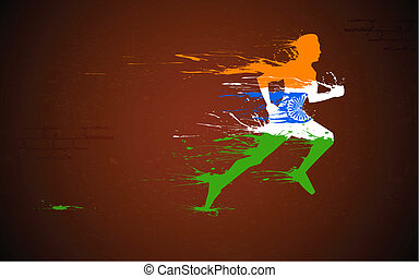 coureur, indien, drapeau tricolore