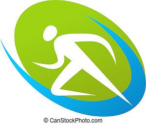 coureur, logo, /, icône