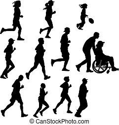 coureur, personne, paraplégique