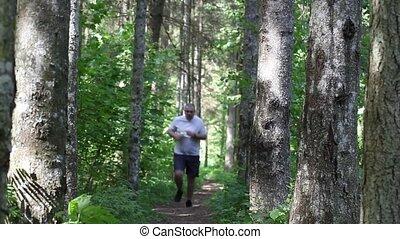 coureur, piste, forêt