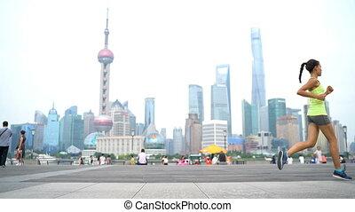 coureur, shanghai, porcelaine, courant, ville