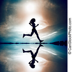 coureur, silhouetted, reflec