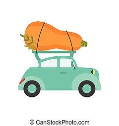 courgette, mignon, turquoise, jardin, voiture, légumes, géant, expédition, livraison, vecteur, illustration, vue, frais, côté