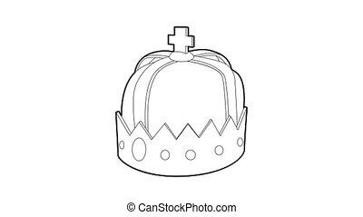 couronne, animation, icône