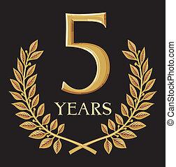 couronne, doré, 5, laurier, année