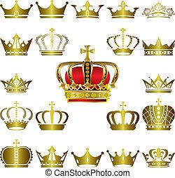 couronne, ensemble, diadème, icônes