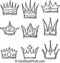 couronne, ensemble, divers, collection, griffonnage