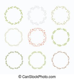 couronne, feuilles, isolé, vecteur, vert
