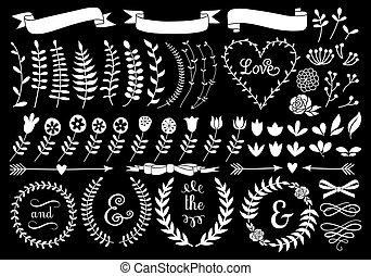couronne, floral, vecteur, laurier, blanc