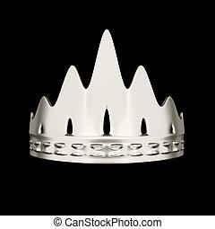 couronne, isolé, conception, fond, noir, argent