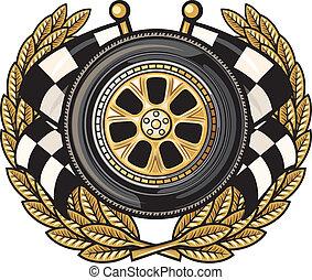 couronne laurier, roue