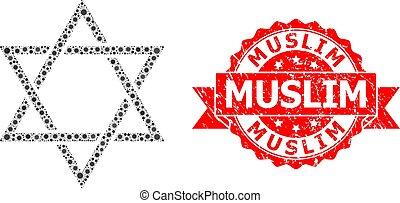 couronne, mosaïque, étoile, musulman, david, textured, timbre, virus