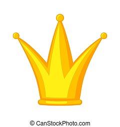couronne or, dessin animé, fête