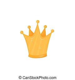 couronne or, isolé, illustration, vecteur, fond, blanc