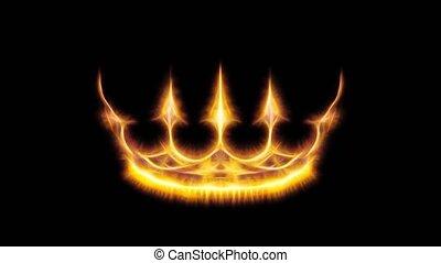 couronne, royal, ornements, noir, arrière-plan.
