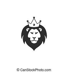 couronne, sauvage, lion, vecteur, conception, icône, logo