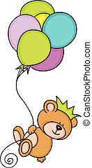 couronne, voler, ballons, ours, teddy