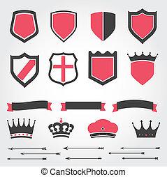 couronnes, boucliers, ensemble, vecteur, héraldique