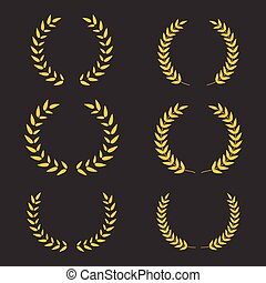 couronnes, set., gagnant, vecteur, conception, laurier, symbole