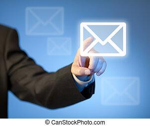 courrier, bouton, urgent, virtuel, main