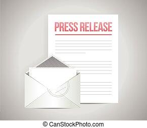 courrier, message, presse, sortie