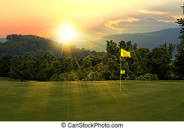 cours, golf, coucher soleil