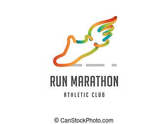 course, affiche, symbole, icône, logo, marathon