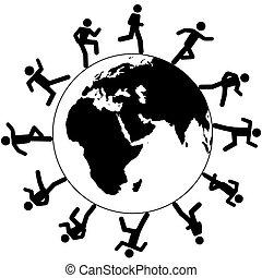course, autour de, gens, symbole, global, international, mondiale
