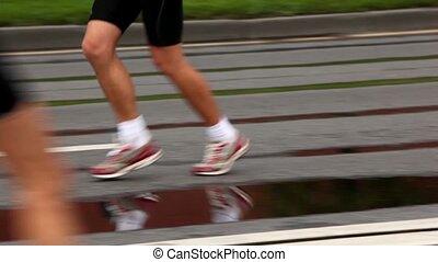 course, chaussures, asphalte, dénudée, jogging, jambes, homme