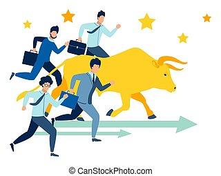 course, course, illustration, vecteur, hommes affaires, taureau