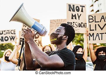 course, droits, cultures, combat, noir, racisme, démonstrateurs, protestation, différent, -, égal, rue, contre, égalité, matière, protester, activiste, vies, mouvement