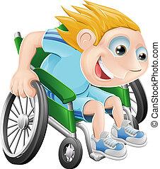 course fauteuil roulant, dessin animé, homme