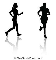 course, femme, silhouette