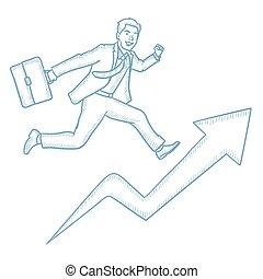 course homme affaires, croissance, graph.
