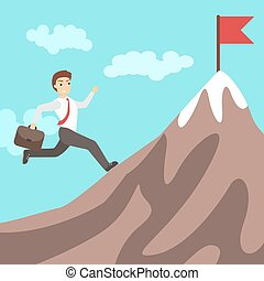 course homme affaires, mountain.