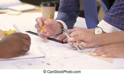 course, multi, maison, architectes, mains, corriger, blueprint.