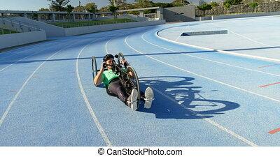 courses, 4k, athlète, fauteuil roulant, handicapé
