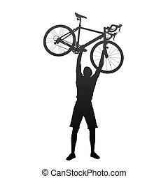 courses, bicycles, homme, silhouette, mains