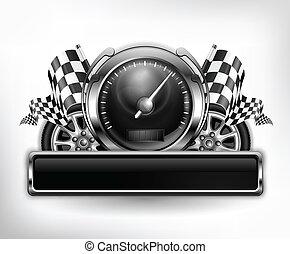 courses, blanc, emblème, compteur vitesse