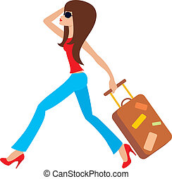 courses, femme, jeune, valise