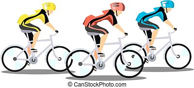 courses, fond blanc, trois, cyclistes