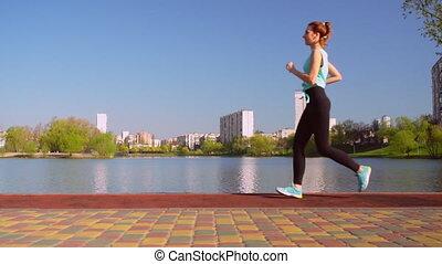 courses, joggeur, jeune, cheveux, dehors, rouges