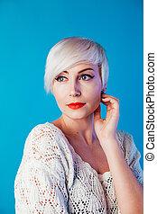 court, blond, beau, mode, portrait, femme, cheveux