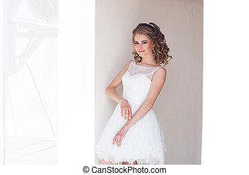 court, joli, mariage, girl, robe, blanc