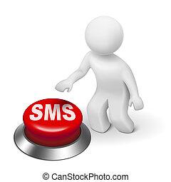 court, service, ), (, bouton, message sms, homme, 3d