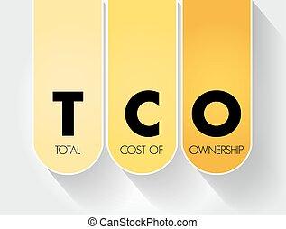 cout, business, tco, acronyme, propriété, fond, total, -, concept