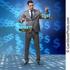 cout, homme affaires, équilibre, bénéfice, concept